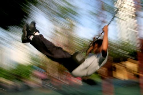 Syafie on the swing @ KLCC Park